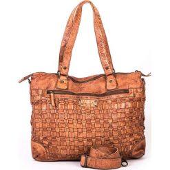 Skórzana torebka w kolorze szarobrązowym - 38 x 29 x 15 cm. Torby na ramię damskie neropantera, w paski, ze skóry. W wyprzedaży za 478.95 zł.