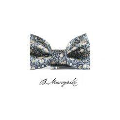 MUCHA William Morris #2. Szare krawaty i muchy B.muszyński, w paski, z tkaniny, eleganckie. Za 100.00 zł.