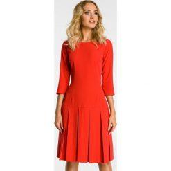 Sukienka z kontrafałdą moe336. Czerwone sukienki dla dziewczynek MOE, eleganckie, z krótkim rękawem. Za 159.90 zł.