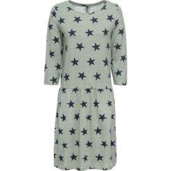 Sukienka shirtowa w gwiazdy bonprix zielono-niebieski. Zielone sukienki damskie bonprix. Za 74.99 zł.