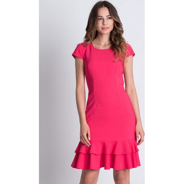 9bbe2b34a2 Różowa sukienka z falbanką BIALCON - Sukienki damskie marki BIALCON ...