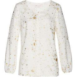 Bluzka bonprix biel wełny. Białe bluzki damskie bonprix, z wełny, z długim rękawem. Za 89.99 zł.