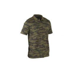 Koszulka polo 100 camo. Zielone koszulki polo męskie SOLOGNAC, z bawełny, z krótkim rękawem. Za 49.99 zł.
