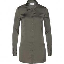 Bluzka satynowa bonprix zielono-szary. Szare bluzki damskie bonprix, z satyny, z długim rękawem. Za 89.99 zł.