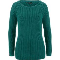 Sweter  w warkocze bonprix głęboki zielony. Zielone swetry damskie bonprix. Za 74.99 zł.
