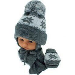 Czapka niemowlęca z szalikiem i rękawiczkami 014B szara. Czapki dla dzieci marki Reserved. Za 46.14 zł.