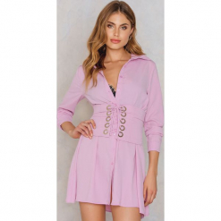 Glamorous Koszulowa sukienka z gorsetem - Pink,Purple. Fioletowe sukienki damskie Glamorous, w paski, z poliesteru, z gorsetem. W wyprzedaży za 111.48 zł.