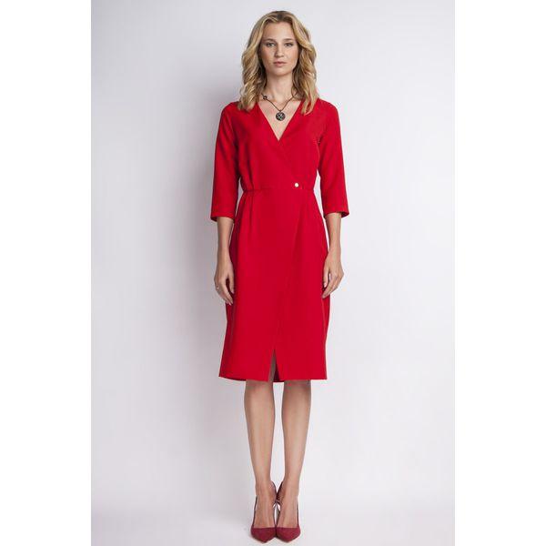 8f8ce322a6272b Czerwona Elegancka Sukienka Midi z Kopertowym Dekoltem - Czerwone ...