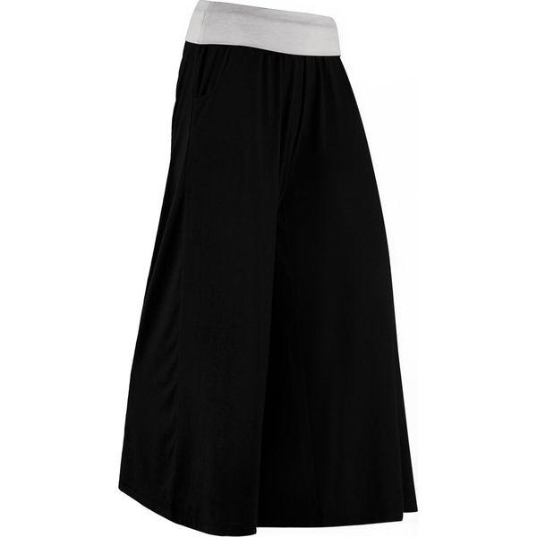 Spodnie shirtowe culotte, dł. do łydki, Level 1 bonprix czarny matowy srebrny