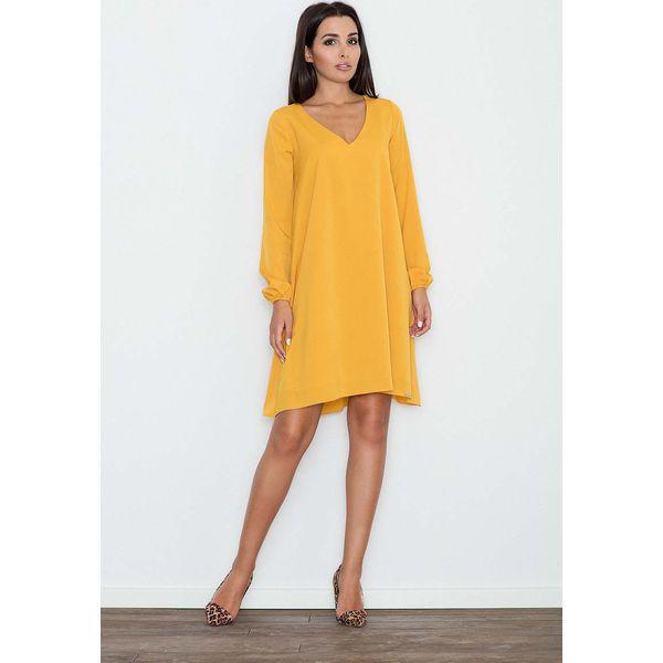 d716f1af27 Żółta Sukienka Trapezowa z Długim Rękawem - Sukienki damskie marki ...