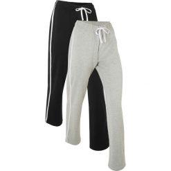 Spodnie sportowe (2 pary), długie, Level 1 bonprix czarny + jasnoszary melanż. Czarne spodnie dresowe damskie bonprix, melanż. Za 109.98 zł.