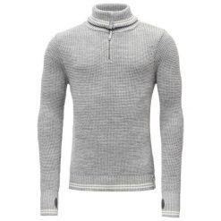 Devold Sweter Randers Zip Neck Grey Mel./Offwhite L. Szare swetry przez głowę męskie Devold, z dzianiny, z klasycznym kołnierzykiem. Za 495.00 zł.