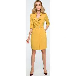 Sukienka żakietowa z paskiem s120. Żółte sukienki damskie Style, w paski, eleganckie. Za 159.00 zł.