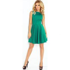 125-6 sukienka koło - dekolt łódka - cegiełka - zielona. Zielone sukienki damskie NUMOCO, z dekoltem w łódkę. Za 112.00 zł.