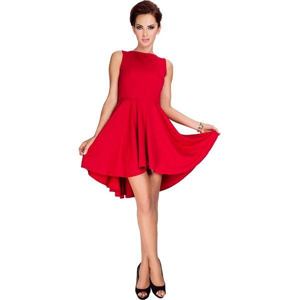 d04a96ff5b Czerwona Sukienka Elegancka Mocno Rozkloszowana z Wydłużonym Tyłem ...