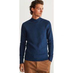 Sweter z półgolfem - Granatowy. Niebieskie swetry przez głowę męskie Reserved. Za 119.99 zł.