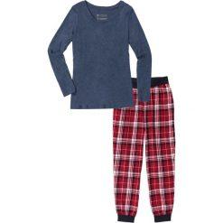 Piżama ze spodniami flanelowymi bonprix ciemnoniebieski melanż z nadrukiem. Piżamy damskie marki MAKE ME BIO. Za 74.99 zł.