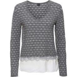 Sweter dzianinowy z wstawką z tkaniny bonprix szary melanż - biel wełny. Swetry damskie marki bonprix. Za 59.99 zł.