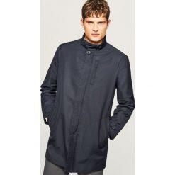 Płaszcz ze stójką - Granatowy. Niebieskie płaszcze męskie Reserved. Za 279.99 zł.