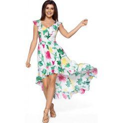 Elegancka Maxi Kolorowa Sukienka w Typu Hiszpanka. Białe sukienki damskie Molly.pl, na lato, w kolorowe wzory, z satyny, eleganckie, z dekoltem typu hiszpanka. Za 259.90 zł.