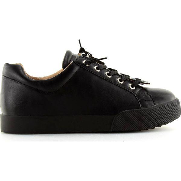 czarne buty sportowe damskie ozdobne sznurówki