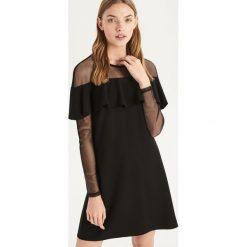 Sukienka z falbaną - Czarny. Czarne sukienki damskie Sinsay. Za 79.99 zł.