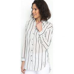 Biało-Czarna Koszula White Bedding. Białe koszule damskie Born2be, w paski, klasyczne, z klasycznym kołnierzykiem. Za 64.99 zł.
