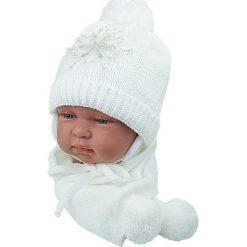 Czapka niemowlęca z szalikiem CZ+S 001B biała. Czapki dla dzieci marki Reserved. Za 38.76 zł.