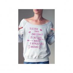 Zmęczona bluza dla karmiących matek. Szare bluzy damskie One mug a day, z nadrukiem, z bawełny. Za 159.00 zł.