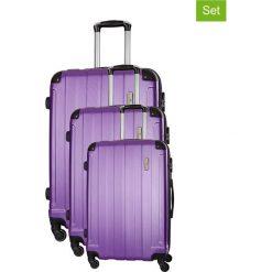 Zestaw walizek w kolorze fioletowym - 3 szt. Walizki męskie Platinium, z materiału. W wyprzedaży za 539.95 zł.