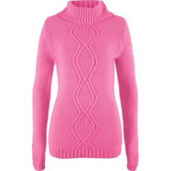 Sweter z warkoczem bonprix różowy flaming. Swetry damskie marki bonprix. Za 59.99 zł.