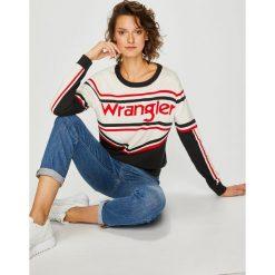 Wrangler - Sweter. Szare swetry damskie Wrangler, z bawełny, z okrągłym kołnierzem. Za 269.90 zł.