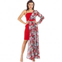 Sukienka w kolorze czerwonym ze wzorem. Czerwone sukienki damskie Ryłko by Agnes & Paul, w paski, z tkaniny. W wyprzedaży za 222.95 zł.