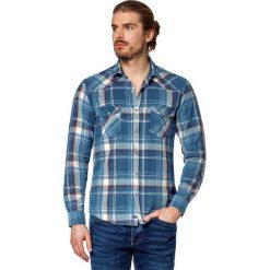 Koszula Jeansowa w Kratę Cliftown. Brązowe koszule męskie LANCERTO, w kolorowe wzory, z bawełny, z kontrastowym kołnierzykiem. W wyprzedaży za 199.90 zł.