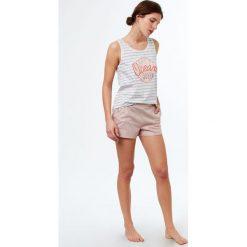 Etam - Top piżamowy Jenny. Szare piżamy damskie Etam, z nadrukiem, z bawełny. W wyprzedaży za 39.90 zł.