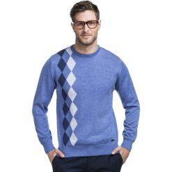 Sweter PIETRO SWN000073. Niebieskie swetry przez głowę męskie Giacomo Conti, w geometryczne wzory, z wełny. Za 259.00 zł.