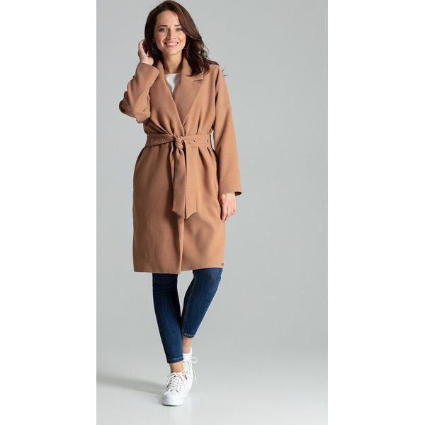 Płaszcz damski beżowy wiązany paskiem lxl