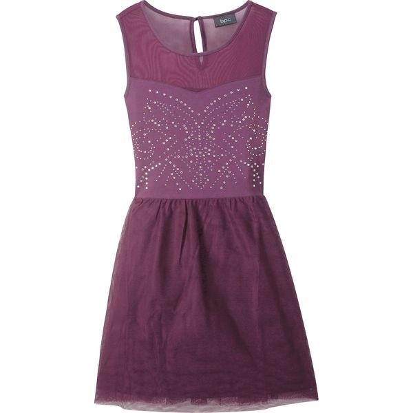 87fe582e0f Sukienka dziewczęca tiulowa ze sztrasami bonprix lila - Sukienki dla ...