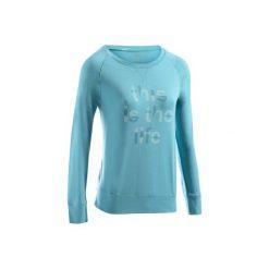 Koszulka długi rękaw Gym & Pilates 500 damska. Niebieskie koszulki sportowe damskie DOMYOS, z bawełny, z długim rękawem. Za 39.99 zł.