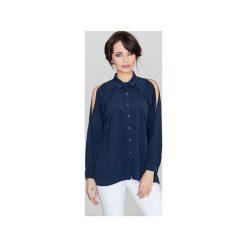 Koszula K383 Granat. Niebieskie koszule damskie Lenitif, klasyczne, z klasycznym kołnierzykiem, z długim rękawem. Za 119.00 zł.