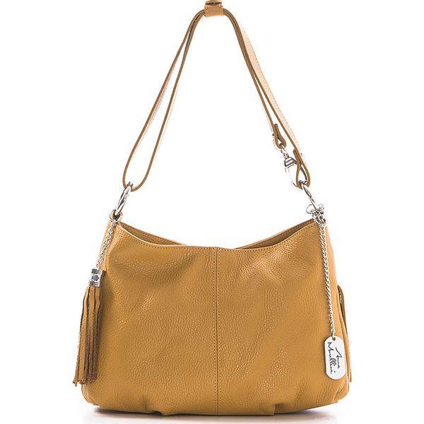 5c75b472091c8 Skórzana torebka w kolorze musztardowo-jasnobrązowym - 30 x 20 x 8 ...