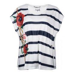 Desigual T-Shirt Damski M Biały. Białe t-shirty damskie Desigual, z okrągłym kołnierzem. W wyprzedaży za 189.00 zł.
