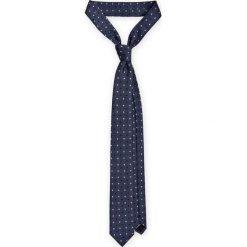 Krawat Granatowy w Kropki. Niebieskie krawaty i muchy LANCERTO, w geometryczne wzory, z mikrofibry, eleganckie. Za 79.90 zł.