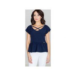 Bluzka K396 Granat. Niebieskie bluzki damskie Lenitif, w paski, z materiału, z asymetrycznym kołnierzem. Za 119.00 zł.