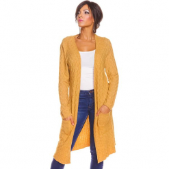 """Kardigan """"Ema"""" w kolorze musztardowym. Żółte kardigany damskie So Cachemire, z kaszmiru. W wyprzedaży za 173.95 zł."""