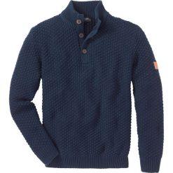 Sweter Slim Fit bonprix ciemnoniebieski. Swetry przez głowę męskie marki Giacomo Conti. Za 89.99 zł.