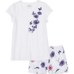 Piżama z krótkimi spodenkami bonprix biało-lila z nadrukiem. Piżamy damskie marki MAKE ME BIO. Za 44.99 zł.
