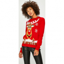 Vero Moda - Sweter. Czerwone swetry damskie Vero Moda, z nylonu, z okrągłym kołnierzem. Za 89.90 zł.
