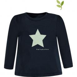Koszulka w kolorze czarnym. Czarne bluzki dla dziewczynek bellybutton, z nadrukiem, z bawełny, z okrągłym kołnierzem, z długim rękawem. W wyprzedaży za 32.95 zł.