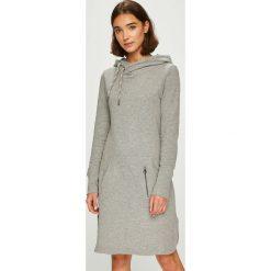 Only - Sukienka. Szare sukienki damskie Only, z bawełny, casualowe, z kapturem, z długim rękawem. Za 169.90 zł.